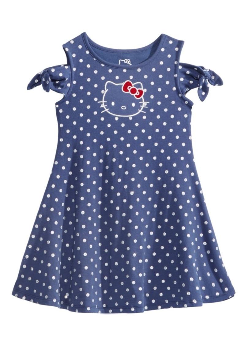 Hello Kitty Cold Shoulder Dot-Print Dress, Little Girls