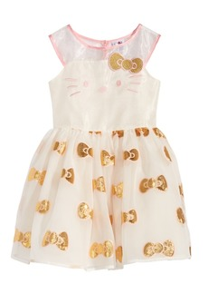 Hello Kitty Embroidered Face Organza Dress, Little Girls