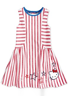 Hello Kitty Embroidered Striped Cotton Dress, Toddler & Little Girls (2T-6X)
