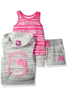 Hello Kitty Baby Girls' 3 Piece Sleeveless Hoodie Short Set
