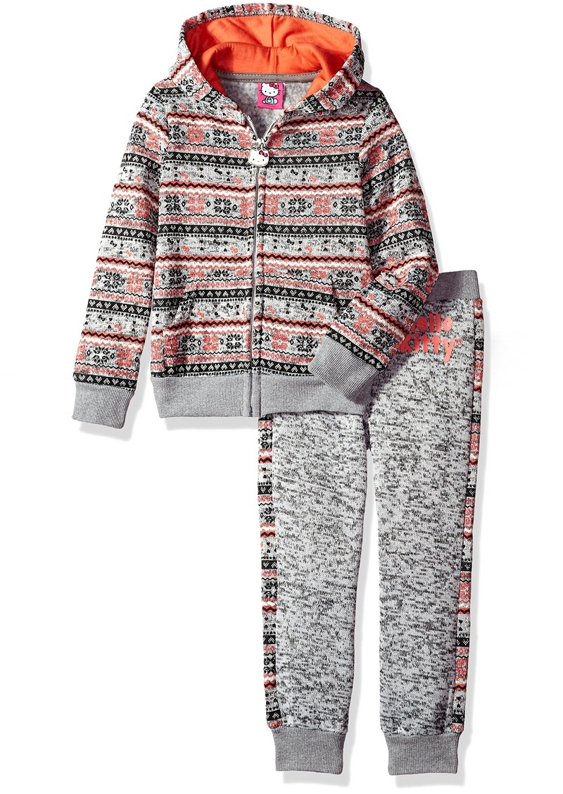 Hello Kitty Girls' All Over Printed Sweater Fleece Active Set