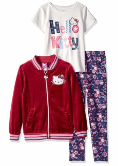 Hello Kitty Girls' Big 3 Piece Cardigan Set with Tee and Printed Leggings
