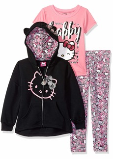 Hello Kitty Girls' Big 3 Piece Hooded Set with T-Shirt and Printed Leggings