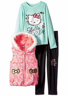 Hello Kitty Girls' Big 3 Piece Tee Vest and Legging Set
