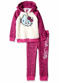 Hello Kitty Girls' Little 2 Piece Hooded Fleece Active Set