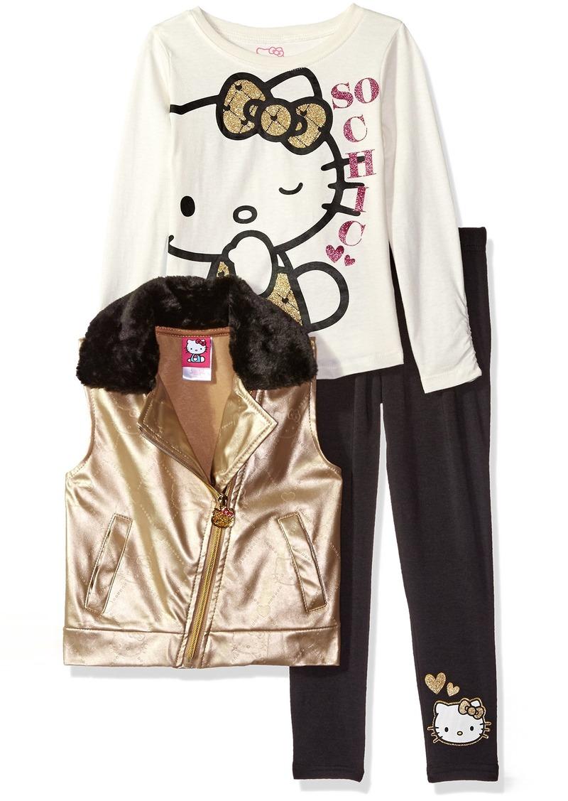 Hello Kitty Little Girls' 3 Piece Tee Vest and Legging Set
