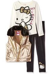 Hello Kitty Little Girls' Embossed Pleather Moto Vest with White Top and Black Legging