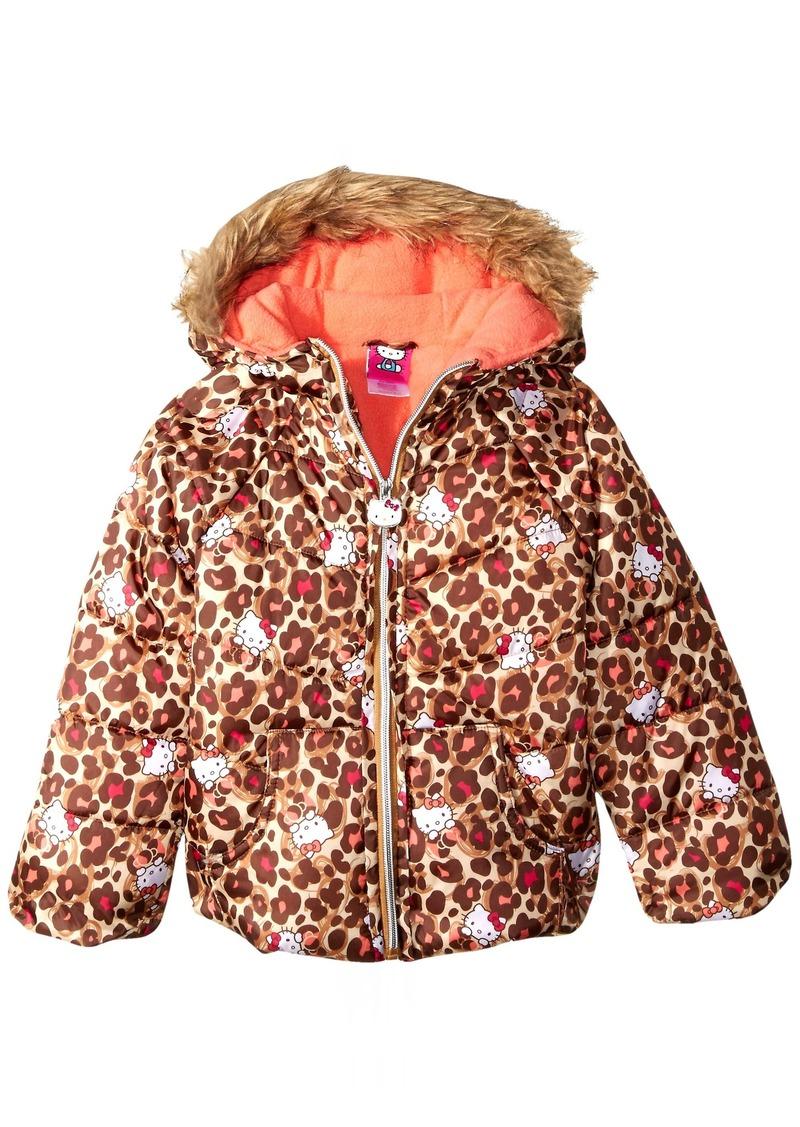 Hello Kitty Girls' Little Printed Puffer Jacket with Fur Trim Hood