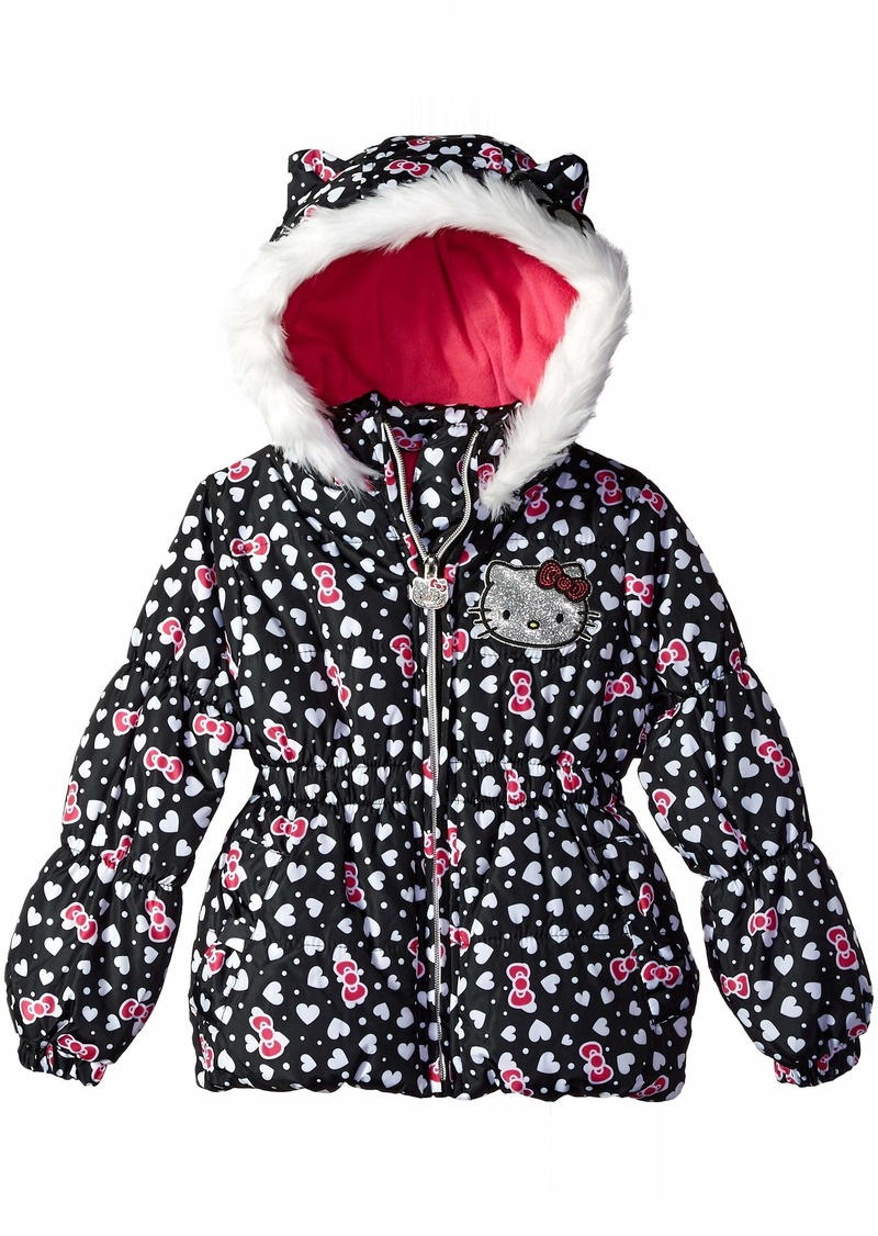 5f3ef49a5 Hello Kitty Hello Kitty Girls' Little Printed Puffer Jacket with Fur ...