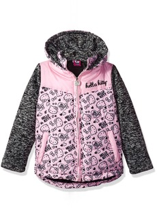 Hello Kitty Girls' Printed Puffer Jacket with Sweater Sleeves  24M