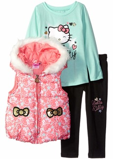 Hello Kitty Girls' Toddler 3 Piece Tee Vest and Legging Set
