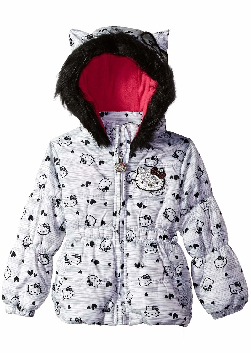 05fce0ddf Jackets Hello Kitty Girls Little Printed Puffer Jacket with Fur Trim Hood