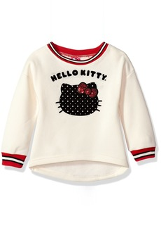 Hello Kitty Girls' Toddler Sweatshirt with Sugar Glitter Flocking and Fashion Rib