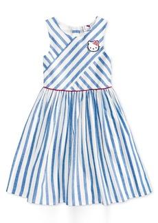 Hello Kitty Glitter Patch Striped Cotton Dress, Toddler & Little Girls (2T-6X)