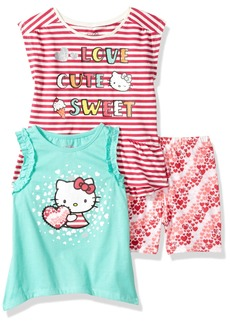 Hello Kitty Girls' Little 3 Piece Short Set with Fashion Tank Top Poppy red