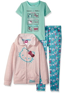 Hello Kitty Girls' Little 3 Piece Zip Up Hoodie Legging Set with T-Shirt