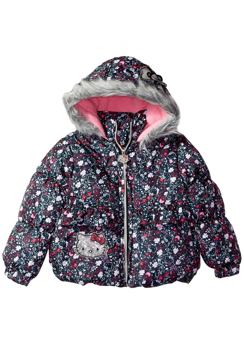 Hello Kitty Little Girls' All Over Printed Puffer Jacket with Fur Trim Hood