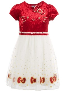 Hello Kitty Toddler Girls Embroidered Velvet Dress