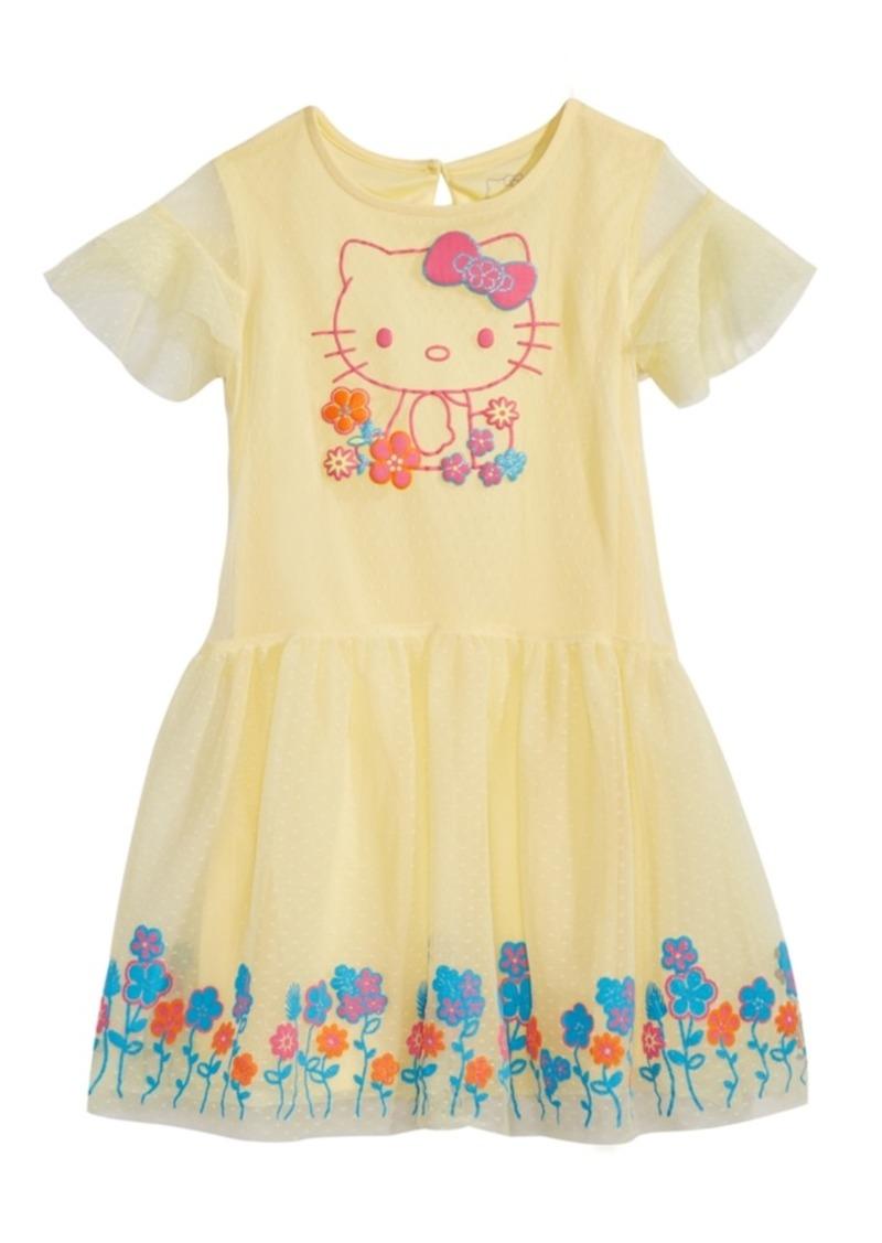 Hello Kitty Little Girls Graphic-Print Swiss Dot Dress