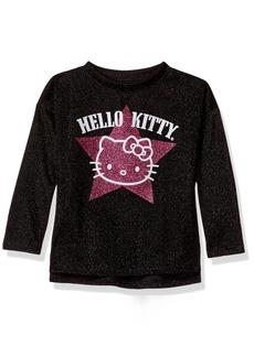 Hello Kitty Little Girls' Metallic Knit Sweatshirt with Glitter Print