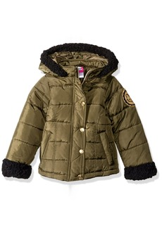 Hello Kitty Girls' Little Puffer Jacket with Sherpa Trim Hood and Sleeves
