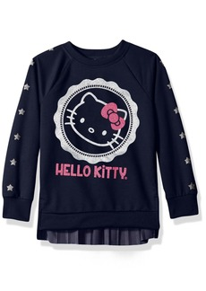 Hello Kitty Big Girls' Sweatshirt with Glitter Artwork and Pleated Velvet