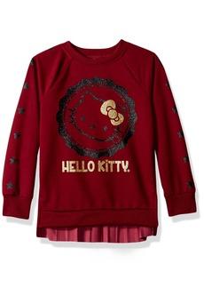 Hello Kitty Little Girls' Sweatshirt With Glitter Artwork and Pleated Velvet  6X