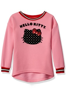 Hello Kitty Little Girls' Sweatshirt with Sugar Glitter Flocking and Fashion Rib