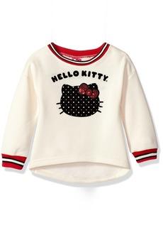 Hello Kitty Little Girls' Sweatshirt with Sugar Glitter Flocking and Fashion Rib  6X