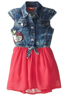 Hello Kitty Little Girls' Toddler Tie Top with Chambray Bottom Dress