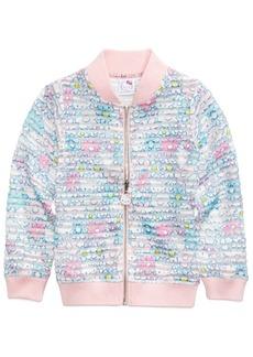 Hello Kitty Printed Shadow-Stripe Scuba Bomber Jacket, Little Girls