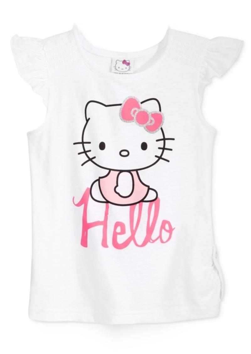 Hello Kitty Ruffle-Sleeve Graphic T-Shirt, Toddler & Little Girls (2T-6X)