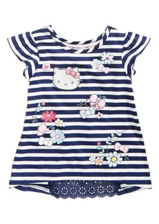 Hello Kitty Striped Printed Inset Top, Little Girls