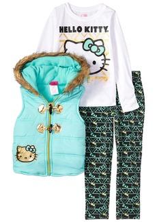 Hello Kitty Toddler Girls' 3 Piece Tee Vest and Legging Set