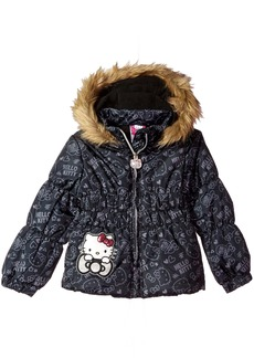 Hello Kitty Toddler Girls' All Over Printed Puffer Jacket with Fur Trim Hood
