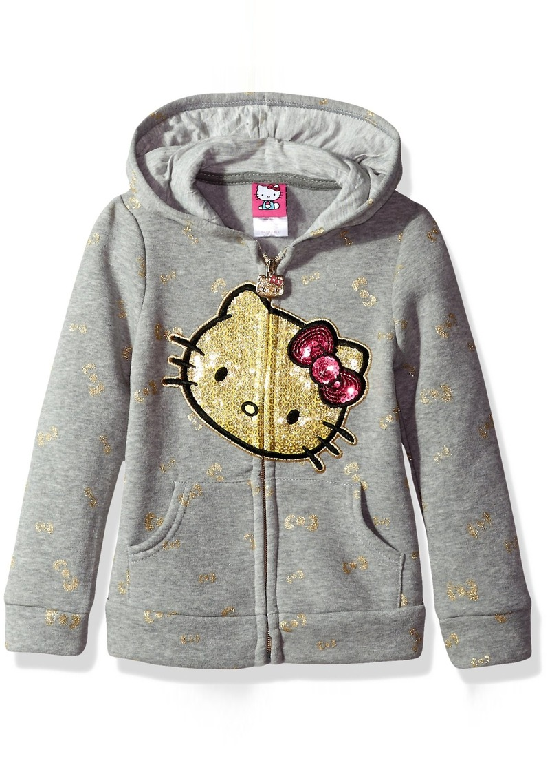 Hello Kitty Girls' Toddler Zip Up Hoodie with Sequin Applique
