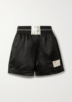 Helmut Lang Appliquéd Jacquard-trimmed Satin Shorts