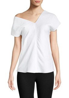 Helmut Lang Asymmetric Cap-Sleeve Top
