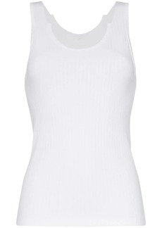 Helmut Lang asymmetric neck ribbed cotton tank top