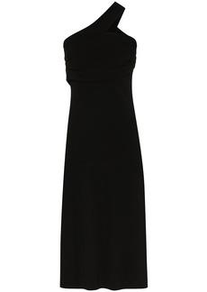 Helmut Lang asymmetric one shoulder midi dress