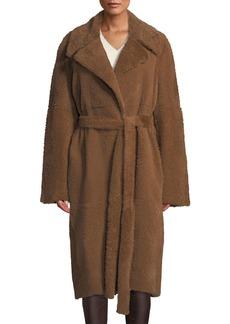 Helmut Lang Belted Oversized Shearling Coat