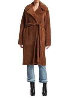 Helmut Lang Belted Shearling Coat