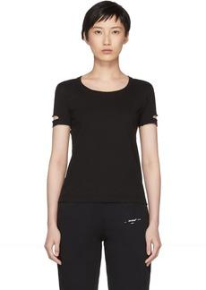 Helmut Lang Black Distressed Slash Sleeve T-Shirt