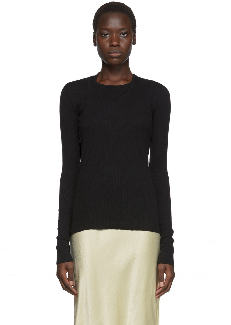 Helmut Lang Black Double Layer Long Sleeve T-Shirt