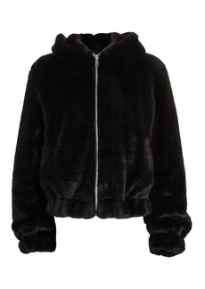 Helmut Lang Black Faux Fur Hooded Bomber Jacket