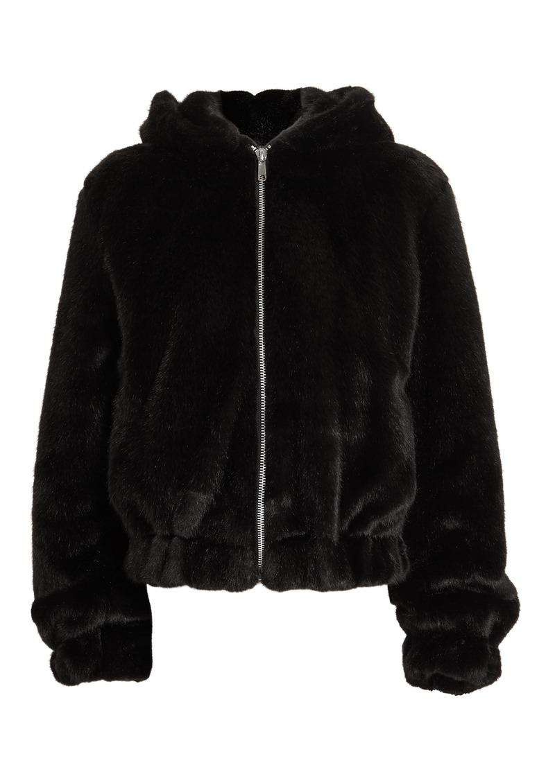 Helmut Lang Black Faux Fur Hooded Bomber Jacket
