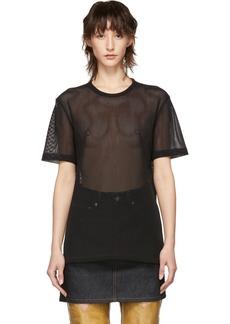 Helmut Lang Black Mesh Logo T-Shirt