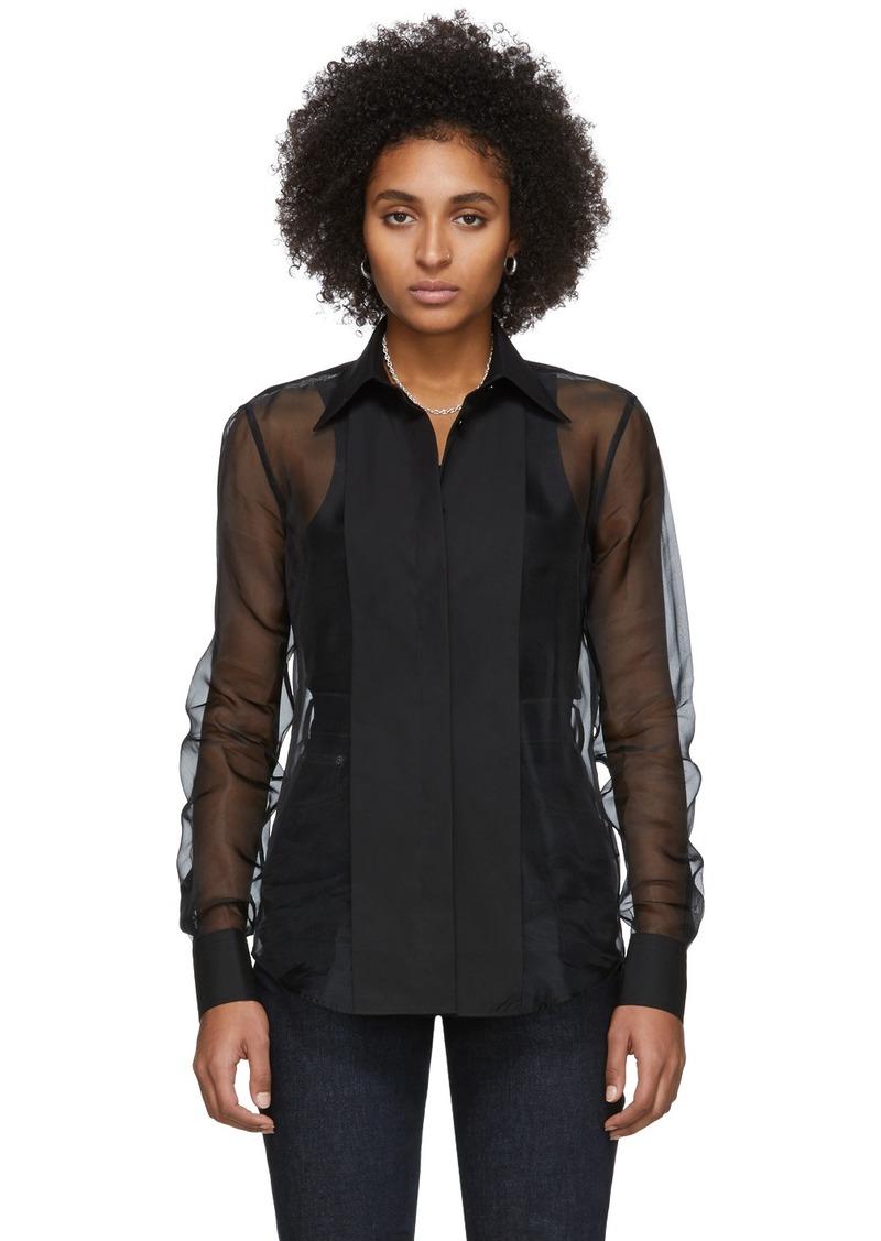 Helmut Lang Black Sheer Tux Shirt