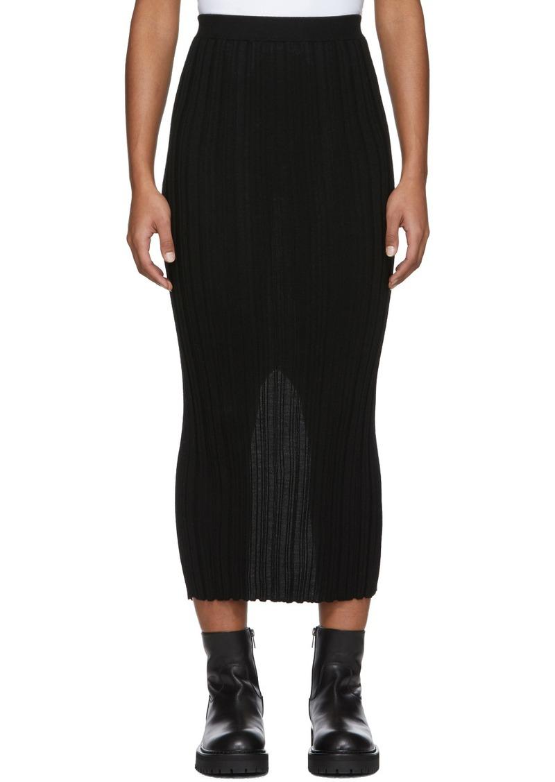 Helmut Lang Black Wool Rib Skirt