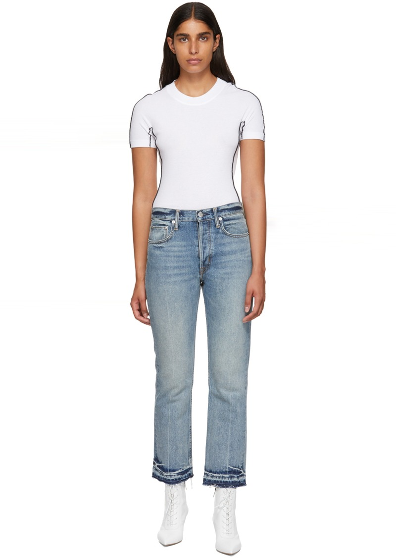 Helmut Lang Blue Crop Straight Jeans